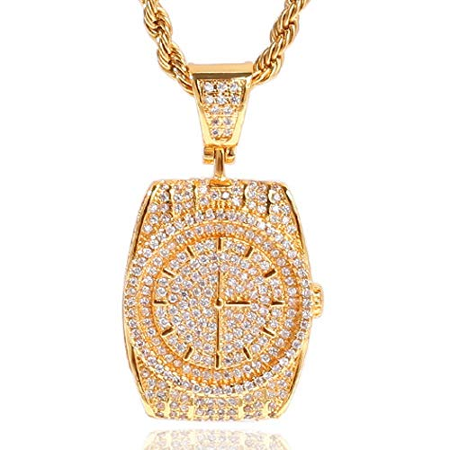 AOVR Hip Hop Cuban Link Chain 14k Gold Plated CZ Crystal Bling Bling Fully Iced-Out Watch Tag Pendant (Watch Gold)