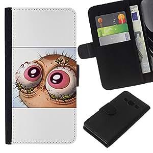 LECELL--Cuero de la tarjeta la carpeta del tirón Smartphone Slots Protección Holder For Samsung Galaxy A3 -- Resumen Lol Wtf Ojos Ren y St1Mpy --