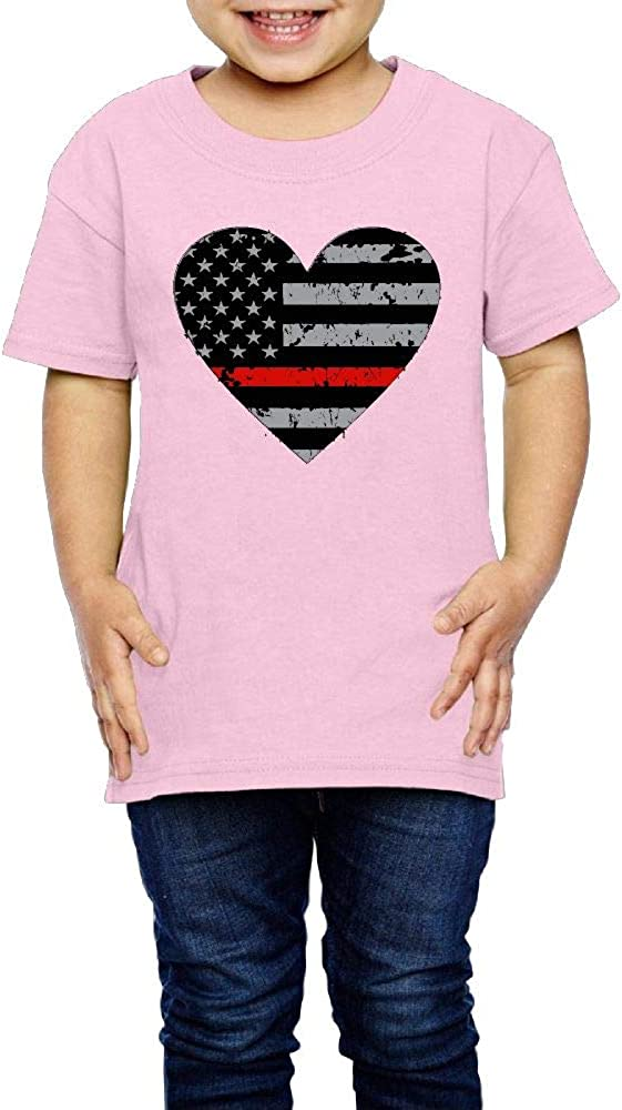 Kcloer24 Thin Red Line Heart Firefighter Unisex Toddler Cute T-Shirt Short Sleeve Tee 2-6 Years Old