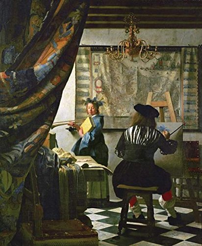 The Polyster Canvas Of Oil Painting 'Johannes Vermeer,Allegory Of The Art Of Painting,1670-1675' ,size: 20x24 Inch / 51x62 Cm ,this Replica Art DecorativeCanvas Prints Is Fit For Bar Decor And Home Artwork And Gifts