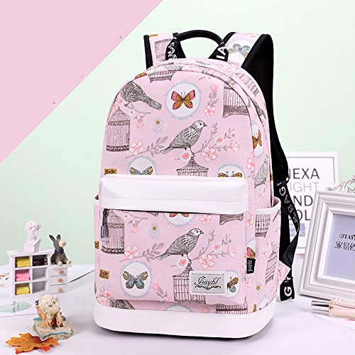 Pink SQB Rainproof schoolbag, flower branch, butterfly bird cage, bird pattern, water cup, girl shoulders, schoolbags for primary and middle school students