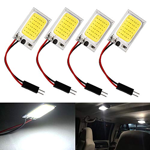 Everbright 4-Pack Super White COB 18-SMD LED Panel Dome Lamp Auto Car Interior Reading Plate Light Roof Ceiling Interior Wired Lamp with 4× BA9S Adapter, T10 Adapter, Festoon Adapter (DC-12V) ()