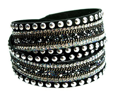 Super Gorgeous Rhinestone and Silvertone Studded Black 2x Wrap Boho Bracelet