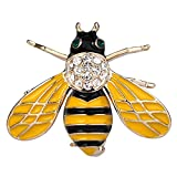 EVER FAITH Crystal Yellow Enamel Honeybee Insect Animal Brooch Pin Clear Gold-Tone