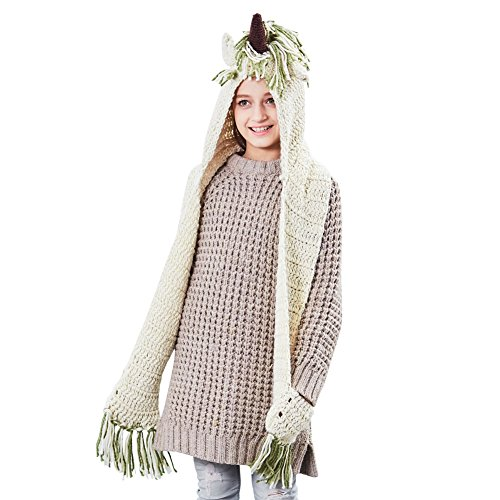 ICOSY Unicorn Hooded Scarf with Scarf Pocket, Kids Crochet Cartoon Hat Animal Hood Beanie Hoodie Scarf Cosplay Winter Hat Green/Beige ()