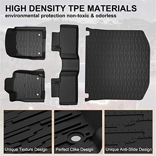 KIWI MASTER Floor Mats & Cargo Liners Set Compatible for 2016-2021 Jeep Grand Cherokee All Weather Protector Mat Front & Rear 2 Row Seat TPE Slush Liner Black