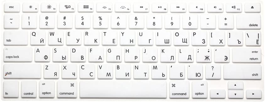 White HQF Notebook SiliconeRussian Keyboard Skin Protection Laptop Layout for All Apple MacBook Air Pro 13 15 US Version Russian//English Keyboard Cover