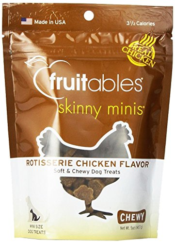 Fruitables Skinny Minis Chewy Dog Treats in Rotisserie Chicken Flavor 5oz by Fruitables, Pack of 4