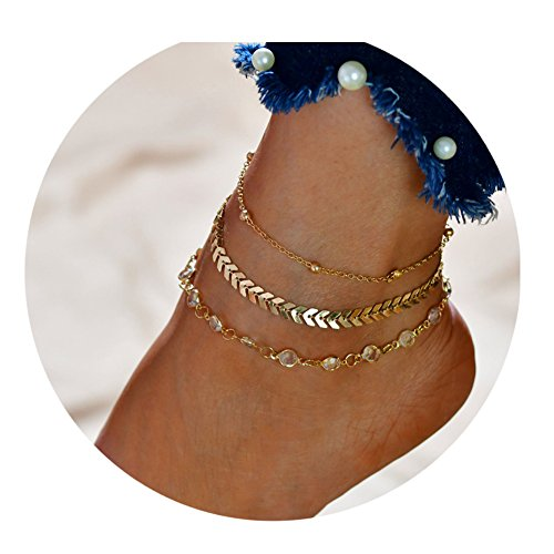 LANG XUAN Starfish Turtle Anklet Multi-layer Boho Handmade Tree of Life Anklet Foot Charm Jewelry Gifts for Women ()