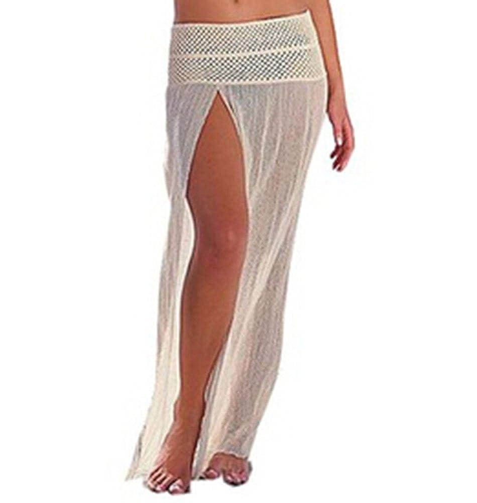 Wenhong Womens Sexy Bikini Cover Up Beach Mesh Hollow Crochet Slit