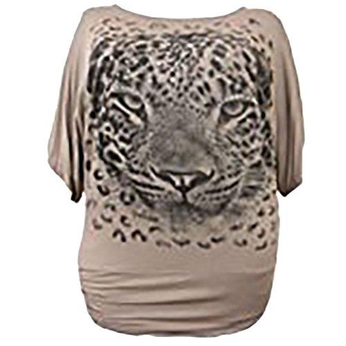Dimensioni Cava Dress14 Piani Stampa Di Pipistrello Donne Moka Larghi Paillettes Di Più 28 Tunica Tigre 5qwqvOpx
