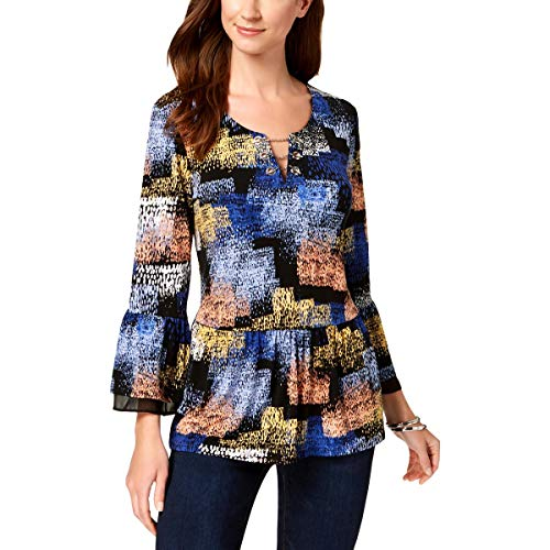 JM Collection Womens Printed Bell Sleeves Blouse Blue L