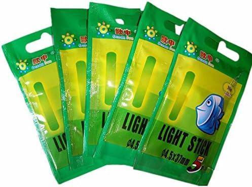 Monland 50 Stueck 10 Beutel 4.5x37mm Nachtfischen Leucht Float Fluoreszierendes Licht Stick Rod Multi-Color LightsDark Leuchtstab Angeln Werkzeuge