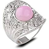 18K White Gold Plated Pink Crystal Ring Elegant Jewelry CZ Rhinestone Engagement LOVE STORY (9#)