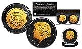 DONALD TRUMP JFK Designed BLACK RUTHENIUM & 24K GOLD Clad Medallion Proof Coin