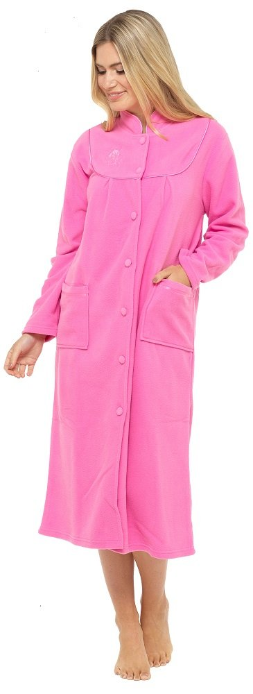 Ladies Warm Fleece Long Sleeve Button & Pockets Front Soft Dressing Gown Jacket