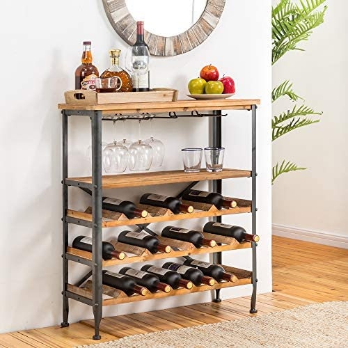 Glitzhome Wood Wine Rack 5-Tier Free Standing Wine Racks Wine Storage Rack 21-Bottle Stackable Capacity Wine Rack Display Shelve