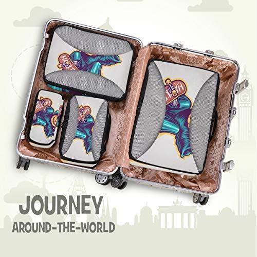 ハロウィンゴーストカボチャスケーター荷物パッキングキューブオーガナイザートイレタリーランドリーストレージバッグポーチパックキューブ4さまざまなサイズセットトラベルキッズレディース