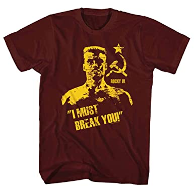 Rocky T-Shirt Ivan Drago I Must Break You Maroon Tee