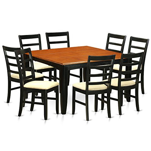 East West Furniture PARF9-BCH-C 9Piece Dining Set-Dining Table & 8 Microfiber Upholstery Seat Dining Chairs
