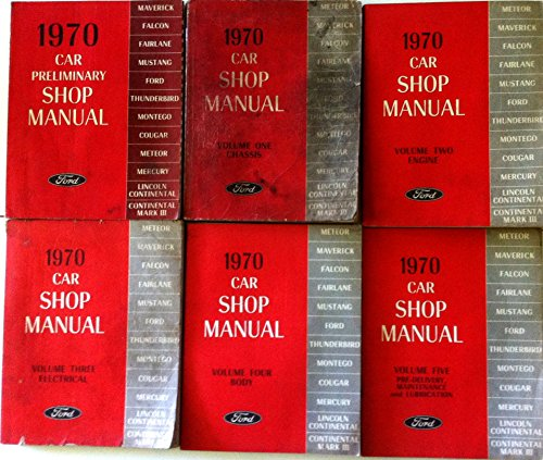 1970 Ford 6-Volume Set of Factory Repair Service Workshop Shop Manuals covers all Ford cars incl. Mustang, Maverick, Thunderbird, Falcon, Cougar, Mercury & Lincoln