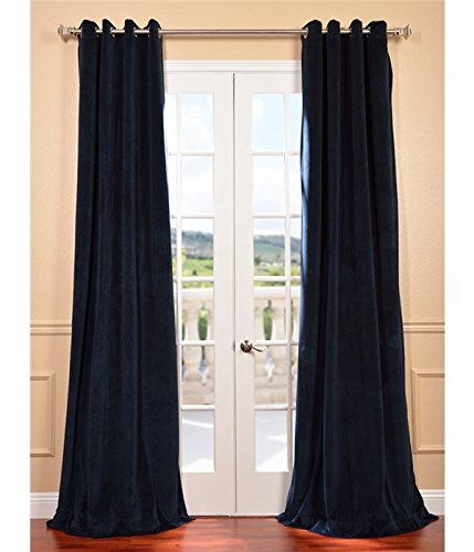 picture of Signature Midnight Blue Grommet Blackout Velvet Curtain