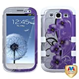 MYBAT SAMSIIIHPCTUFF2DIM021NP Premium TUFF Case for Samsung Galaxy S3 - 1 Pack - Retail Packaging - Twilight Petunias (2D Silver)/Solid White