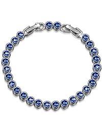 """Bracelet """"Ballad for Adeline"""" Blue Tennis Bracelet Made with SWAROVSKI Crystals-[Gift Packing]"""
