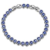 Image of Christmas Gifts Bracelet LadyColour Blue Aquamarine Tennis Bracelet Swarovski Crystals Jewelry for Women Birthday Gifts for Women Teens Girls Wife Mom Grandma Sister Kids Anniversary Gifts for Her