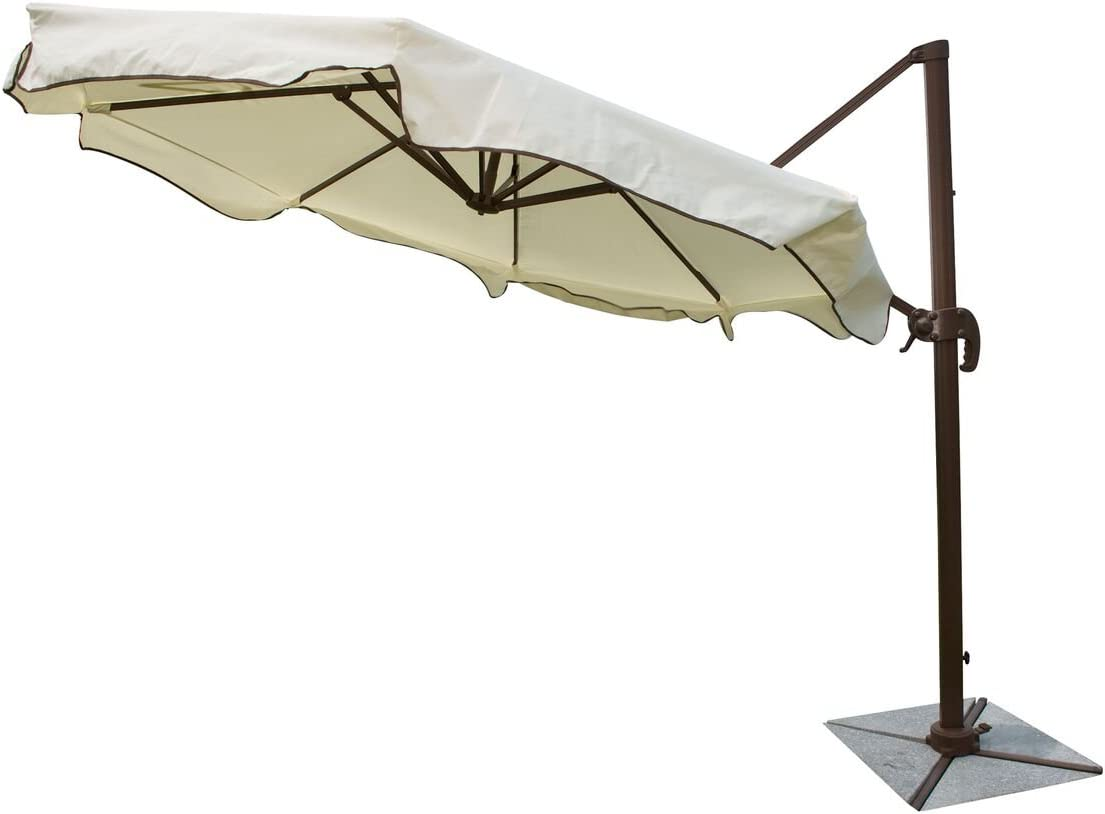 "Panama Jack Outdoor PJO-6001-ESP-CU Outdoor Island Breeze Cantilever Umbrella with Stone Bases, 10-Foot Diameter, 108"" x 108"" x 108"", Cream & Granite"