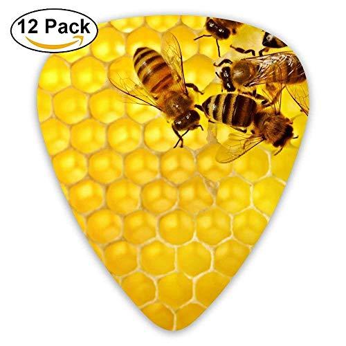 HOOAL Thin Custom Honeycomb Bee Honey Jazz Guitar Picks 0.46mm 0.71mm 0.96mm Boys 12 Packs For Guitarist Musicians Best -