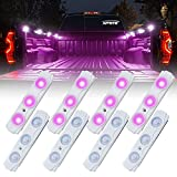 Xprite Purple Led Rock Light for Bed Truck, 24 LEDs Cargo Truck Pickup Bed, Off Road Under Car, Foot Wells, Rail Lights, Side Marker LED Rock Lighting Kit w/Switch - 8 PCs
