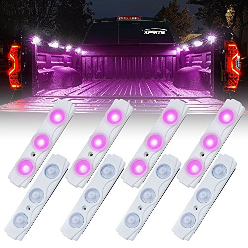 (Xprite Purple Led Rock Light for Bed Truck, 24 LEDs Cargo Truck Pickup Bed, Off Road Under Car, Foot Wells, Rail Lights, Side Marker LED Rock Lighting Kit w/Switch - 8 PCs)