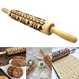 Christmas Wooden Rolling Pins, Engraved Carved Embossing Rolling Pin Kitchen Tool with Christmas Symbols for Baking Embossed Cookies