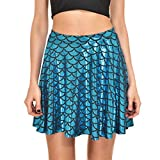 AISKLY Fish Scales Skirts Women Casual Cute Above Knee Mini Flared Skater skirt, Yl-2006, Medium