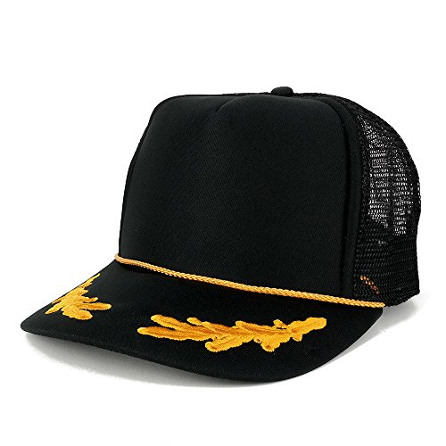 - Armycrew Polyester Foam Front Oak Leaves High Crown Gold Style Trucker Mesh Back Cap - Black