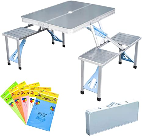 Folding Picnic Table And Beach Set Siamese Tables And Chairs Set Aluminum Alloy Portable Desk With 4 Seats For Indoor Outdoor Travel Camping Hole For Parasol Foldable With Handle Aluminum Kitchen Dining