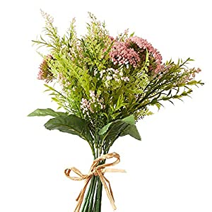 Factory Direct Craft Pink Artificial Heather and Queen Anne's Lace Bundle 80