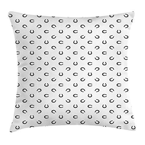 Throw Pillow Cushion Cover, Repeated Pattern Lucky Charm Talisman Traditional Belief Geometric Design, Decorative Square Accent Pillow Case, 20 X 20 Inches, Black and White ()
