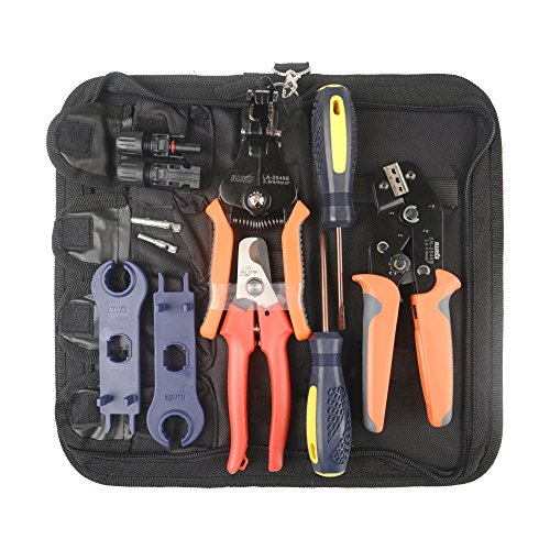 IWISS MC4 Solar PV Cable Crimping Tool Kit for 2.5/4/6mm ²with Stripper,Cutter,MC4 Spanner and MC4 Connectors-Oxford bag pack