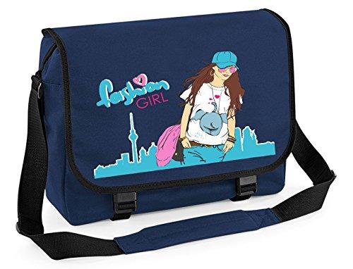 Mein Zwergenland Messenger Bag Fashion Girl, 14 L, Purple French Navy / Black