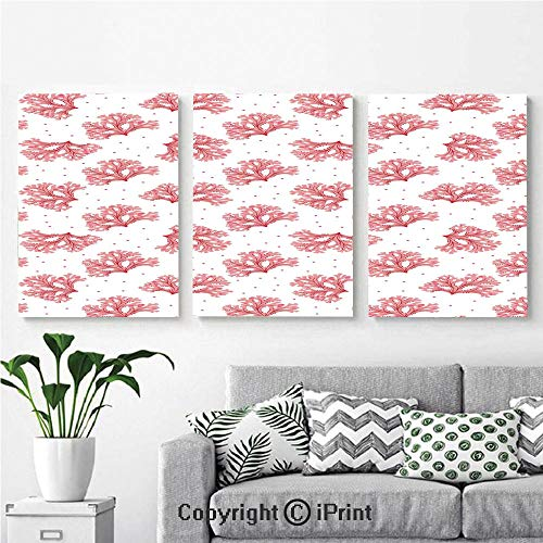 3PCS Triple Decoration Painting Wall Mural Underwater Theme Seaweeds and Dots Algae Tropical Ocean Life Aquatic Artwork Living Room Dining Room Studying Aisle Painting,16