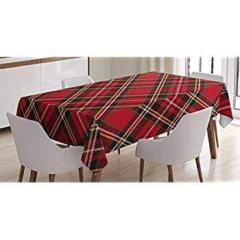 Wonderful Retro Tablecloth By Ambesonne, Diagonal Traditional Vintage Scottish Tartan  Pattern Striped Checkered Geometric Tile,