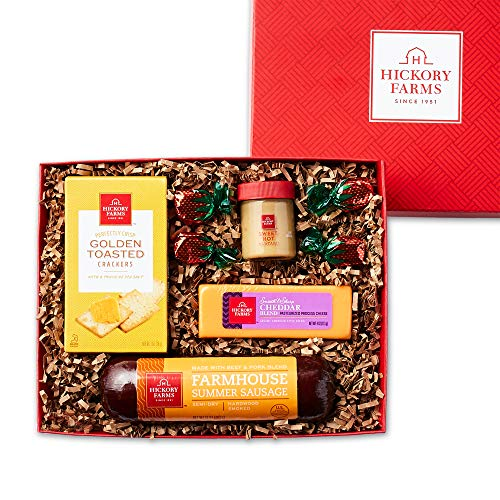Hickory Farms Sausage & Cheese Small Gift Box   Gourmet Food Gift Basket, Great for Snacking, Small Gatherings, Birthday, Family, Congratulations Gifts, Thinking of You, Retirement, Sympathy, Business and Corporate Gifts
