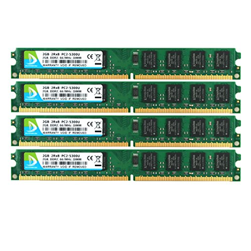 (DUOMEIQI 8GB Kit (4 X 2GB) 2RX8 DDR2 667MHz DIMM PC2-5300 PC2-5400 PC2-5300U CL5 1.8v 240 Pin 5300U Non-ECC Unbuffered Desktop Memory RAM Module Compatible with Intel AMD System)
