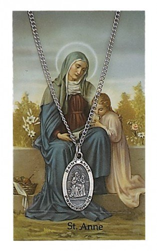(ST Anne Prayer Card Set includes 3/4-inch Oval Pewter St Christopher Medal, 18-inch Nickel Chain & Laminated Holy Card (PSD500AE) )