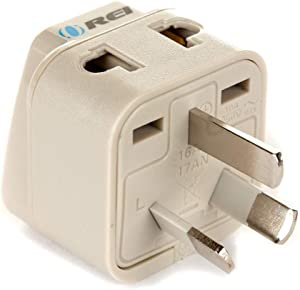 Orei Grounded Universal 2 in 1 Plug Adapter Type I for Australia, New Zealand and More