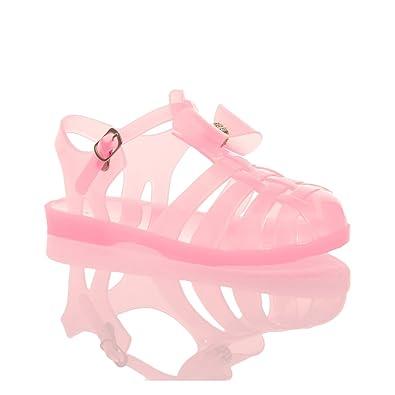 80b03173de58 Ajvani Girls Childrens Kids Low Heel Flat Diamante Bow Gladiator Sandals  Jellies Size 2 Baby Pink