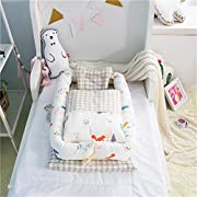 Abreeze Baby Bassinet for Bed -Squirrel Printed Baby Lounger - Breathable & Hypoallergenic Co-Sleeping Baby Bed - 100% Cotton Portable Crib for Bedroom/Travel