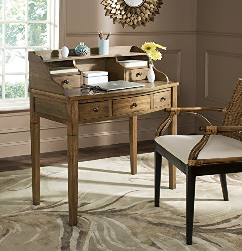 Safavieh American Homes Collection Landon Medium Oak Writing Desk (Antique Top Desk Roll Oak)